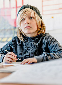 Young Nordic boy at school