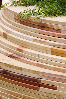Wall of sawn sandstone in Fleming's & Trailfinders Australian Garden, RHS Chelsea 2008. © Jo Whitworth