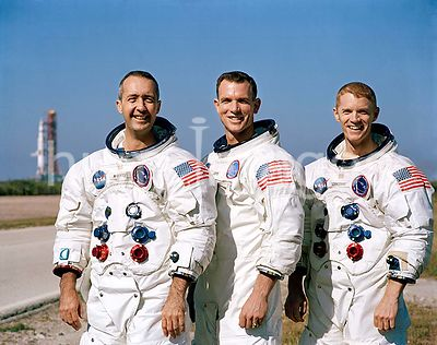18 Dec. 1968 - Prime crew of the Apollo 9 space mission. L to R, are James A. McDivitt, David R. Scott, and Russell L. Schwei...