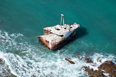 Aerial photograph, of Shipwreck in the Indian Ocean, Cape Agulhas, South Africa, August 2010