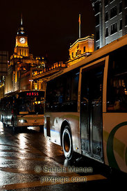 Buses in the Bund, Shanghai, China
