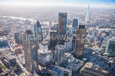 Aerial view of London, Leadenhall Building with Tower 42 towards The Shard.