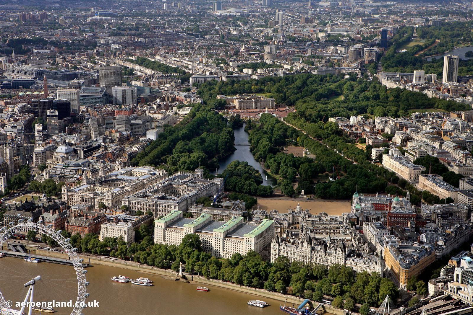 aerial photograph of Whitehall,Westminster  ,  London SW1A 2ETn England UK showing Horse Guards Ave SW1A 2HU , Whitehall Ct S...