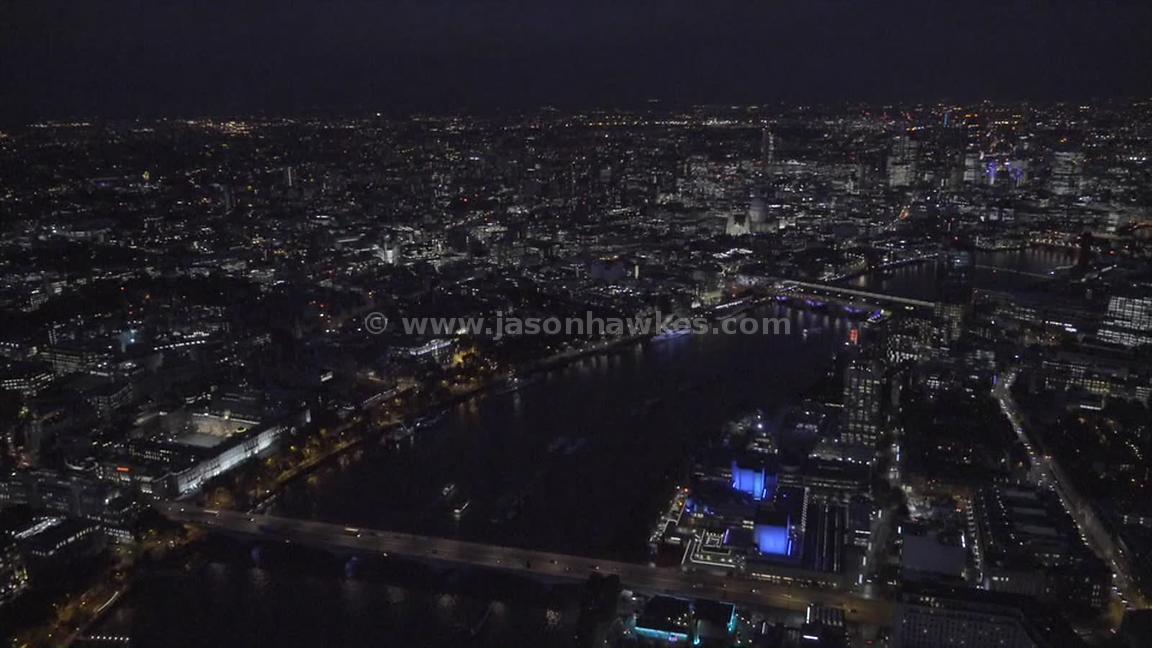 Aerial footage of London at night