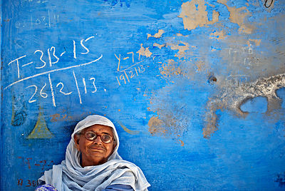 This portrait of an old woman was shot in jodhpur