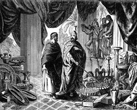 Croesus shows Solon his treasures