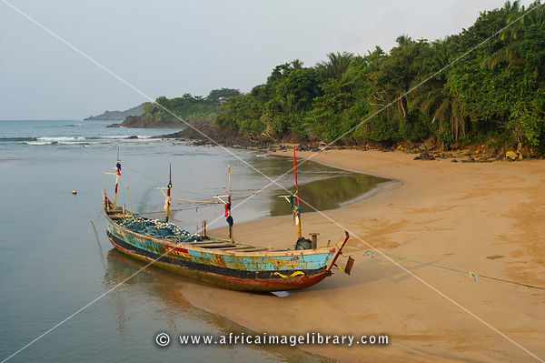 Fishing pirogue on the beach near Busua, Ghana