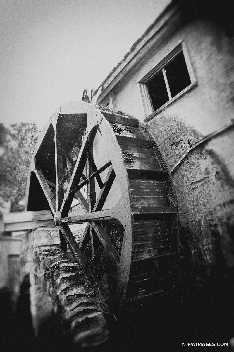 OLD MILL HISTORIC SPANISH COLONIAL QUARTER ST. AUGUSTINE FLORIDA BLACK AND WHITE VERTICAL