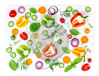 Composition of Fresh organic vegetables (pepper, onion, cucumber, carrot, tomatoe), herbs, olive oil and vinegar  isolated on...