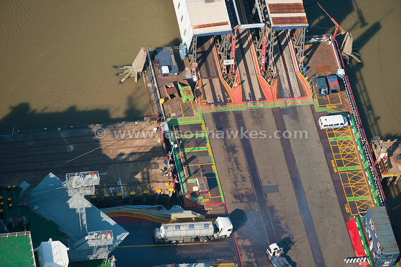 Aerial view of trucks at ferry port