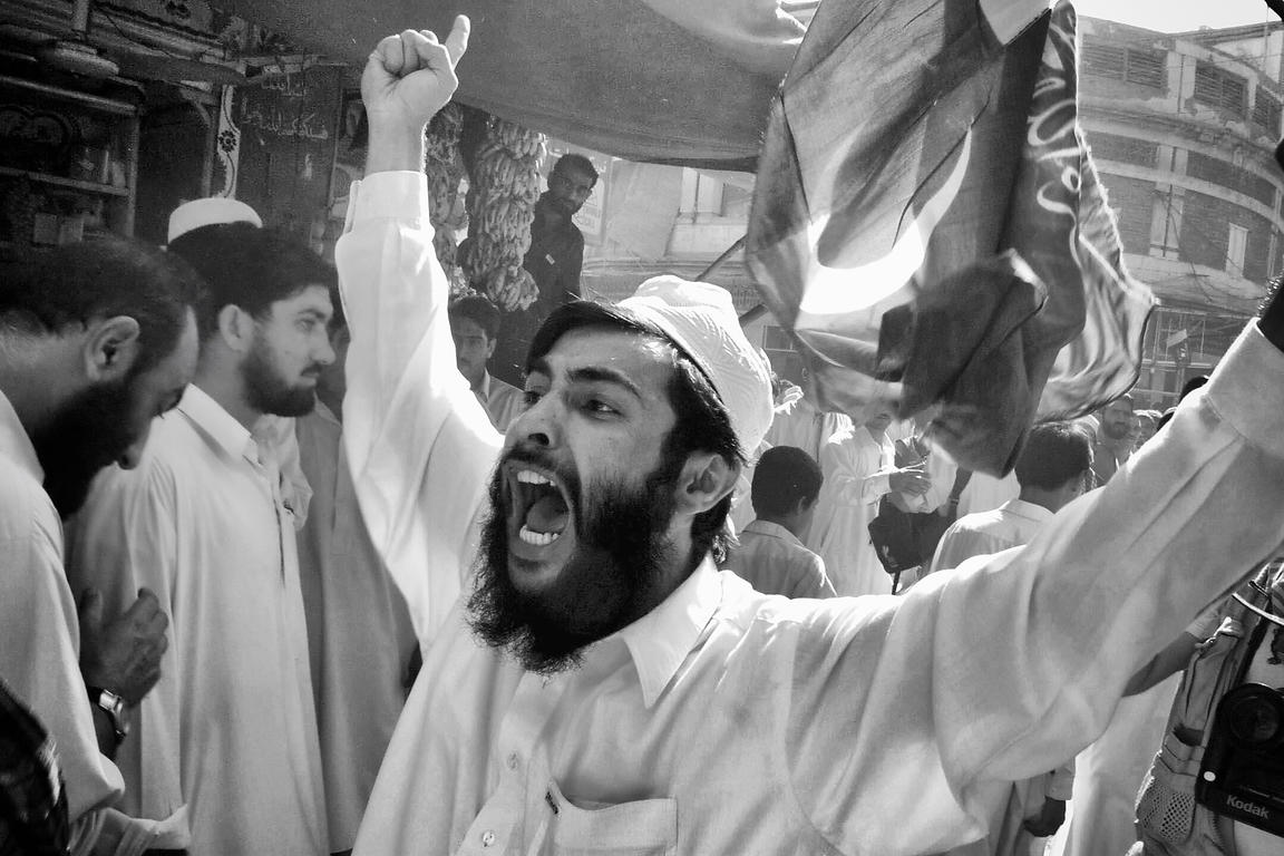 "September 2001. Peshawar. Portrait of activists of the pro-Taliban movement ""Jamiat Islami Taloba"""