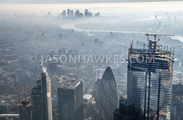 Aerial view of City of London and 22 Bishopsgate.