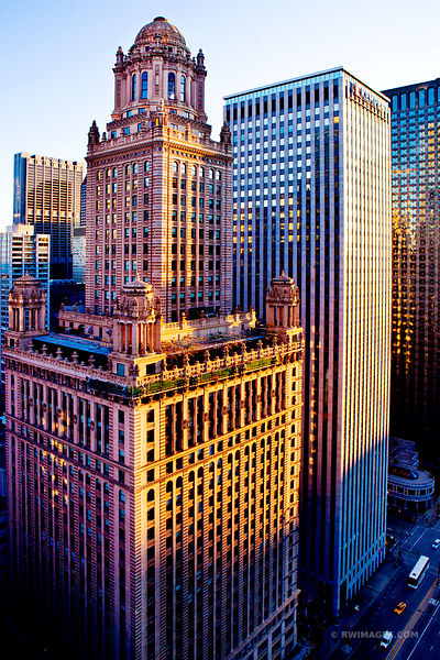 CHICAGO DOWNTOWN ARCHITECTURE COLOR VERTICAL