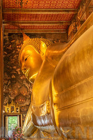 The Reclining Buddha at the Wat Pho temple complex in the Bangkok.  The Buddha that measures 46 metres long and is covered in...