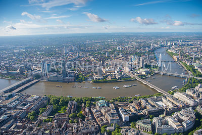 Aerial view of London River Thames and Aldwych