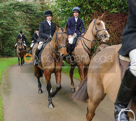 Hilary Butler, Clare Bell arriving at the meet - The Cottesmore Hunt at Little Dalby 7/2