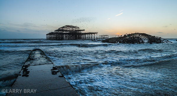 West Pier in wintery sunset Brighton, East Sussex, UK