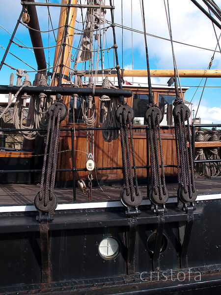 Square rigger rigging in Charlestown Harbour