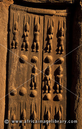 Traditionally carved Dogon door, Ende village,  Dogon Country, Mali