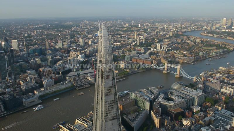 Aerial footage circling the Shard, also showing the River Thames and Tower Bridge