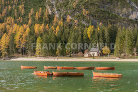 Rental boats at the stunning Lago di Braies a beautiful Alpine lake in wonderful autumn colour.  The Braies lake is in Dolomi...