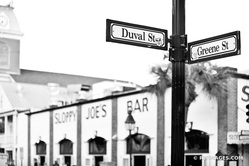 DUVAL STREET SIGN KEY WEST FLORIDA BLACK AND WHITE