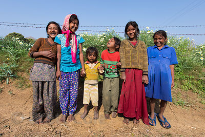 Girls on a flower farm, Doomara village, Rajasthan, India. This is one of my absolute all-time favorite photos, as it perfect...