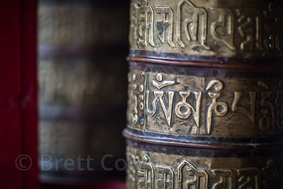 Prayer wheel at Spituk Gompa, Leh, Ladakh, India