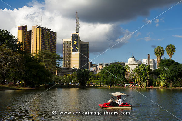 Boating on the lake in Uhuru Park, Central Nairobi, Kenya