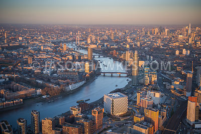 Embassy of the United States of America, London. Nine Elms, river Thames, aerial view.