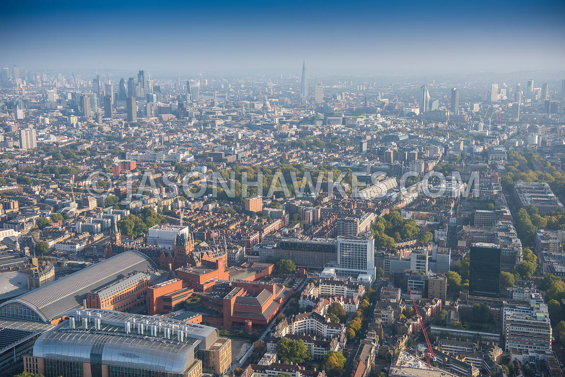 Aerial view of London, Somers Town towards Bloomsbury.