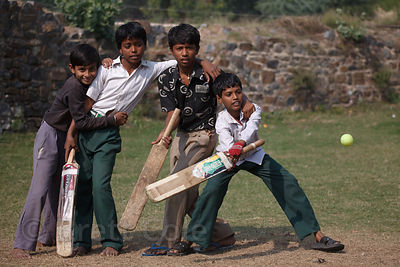 Boys playing cricket in Bharatpur, Rajasthan, India