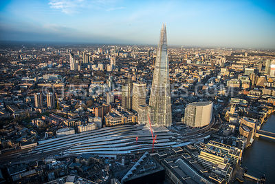 Aerial view of London, London Bridge Station and Guys Hospital Complex.