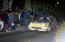 Bruno Saby, Jean-Francois Fauchille - Rallye Monte Carlo 1986 - Peugeot 205 Turbo 16 Evolution 2 , action.Photo Francois Baudin