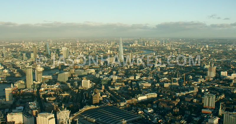Aerial footage of Lambeth and the River Thames