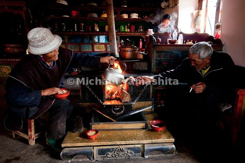 A family of three generations of farmers in Langma Village live, eat and enjoy the ubiquitous yak butter tea together.
