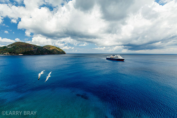 Cruise ship moored off Lipari Italy.