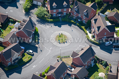 Aerial view of roundabout and housing