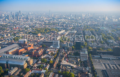 Aerial view of London, British Library and Euston Road towards British Museum.