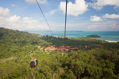 Langkawi cable car to the top of Mount Gunung Machinchang (708m), with views of Langkawi and the Andaman Sea, Pulau Langkawi,...