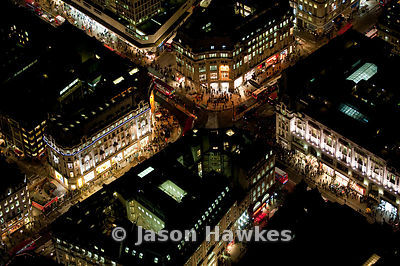 New Layout of Oxford Circus. Night aerial view.