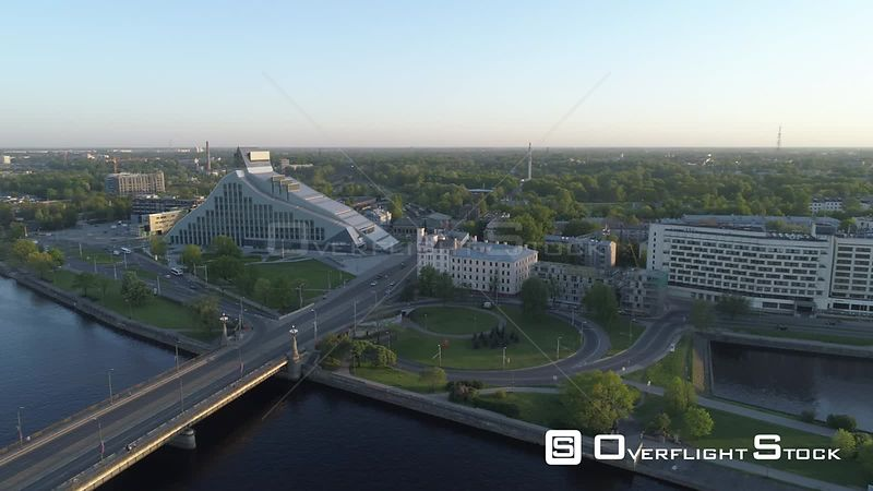 Aerial drone shot of National Library of Latvia in Riga