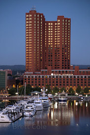 Nighttime reflections in the Port of Baltimore, Maryland