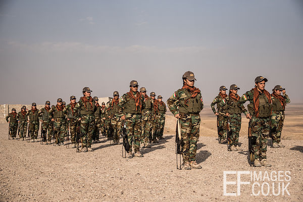 PAK (Kurdistan Freedom Party) female fighters during a training session at her base north of Hawija, where Kurdish Iranian fi...