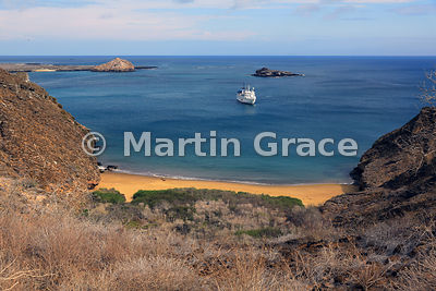Tourist ship M/V La Pinta anchored off Punta Pitt, San Cristobal, Galapagos Islands