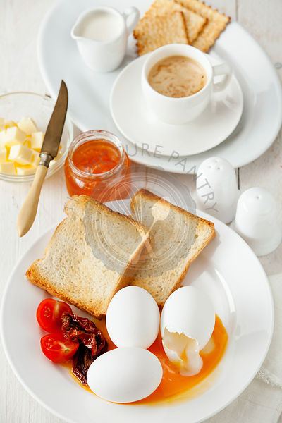 Traditional  breakfast eggs with coffee