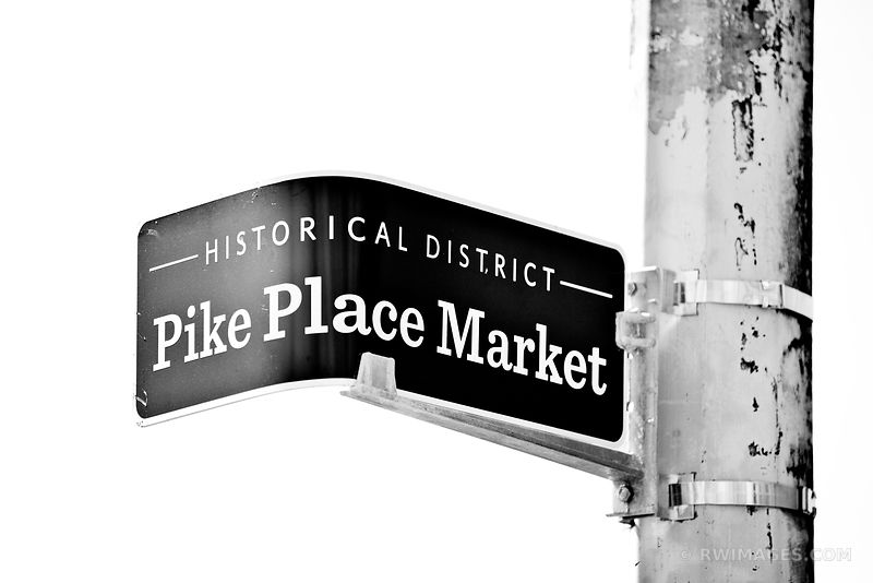 PIKE PLACE MARKET SEATTLE HISTORICAL DISTRICT BLACK AND WHITE