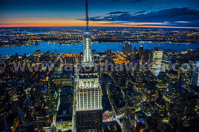 Night aerial view of the top of the Empire State Building