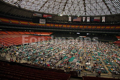Hurricane Katrina evacuees inside Houston Astrodome