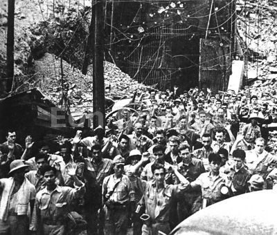 US soldiers and sailors surrender at Corregidor during WWII